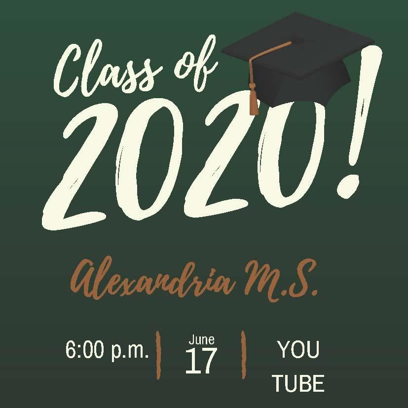 Even though we've been virtual, your hard work shows. Congratulations AMS class of 2020. We are so proud of you. Please join us for a virtual Graduation ceremony on June 17th and a drive-through on June 18th. More information to follow.