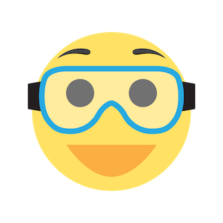 Smiling emoji with safety goggles