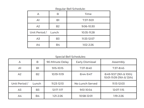 Image of Bell Schedule, Able to be Downloaded in PDF Form from Link Above Image